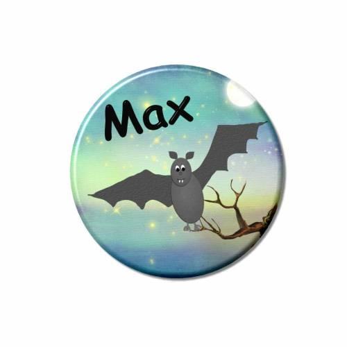 Button Fledermaus personalisiert, Wunschtext, Wunschnamen, Kindergeburtstag Gastgeschenk Mitgebsel