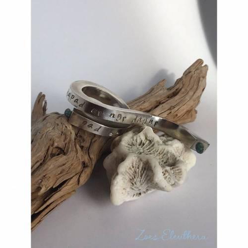 Ring Silber Aquamarin Welle massiv