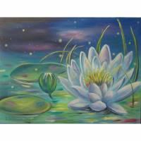 """Acrylgemälde """"ZAUBERHAFTE SEEROSE"""" - Kunst Bild Blumen Malerei Natur Leinwand 80cmx60cm Bild 1"""