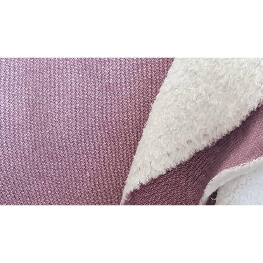 Doubleface-Sweat/Teddy Wintersweat meliert in aubergine/flieder, 100% Baumwolle Bild 1