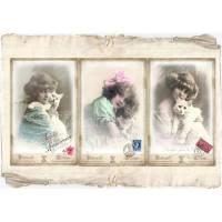 Tolles 3-er Postkarten / Grußkarten Set mit tollen -Mädchen mit Katze- Motiven, im Vintage Stil  Bild 1