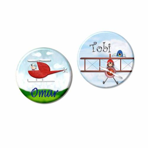 Button Flugzeug, Hubschrauber personalisiert, Wunschtext, Wunschnamen, Kindergeburtstag Gastgeschenk Mitgebsel