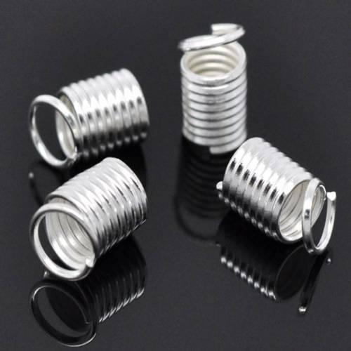 """12 Stück / Endkappen """"Spirale"""" / 9*5 mm / versilbert"""