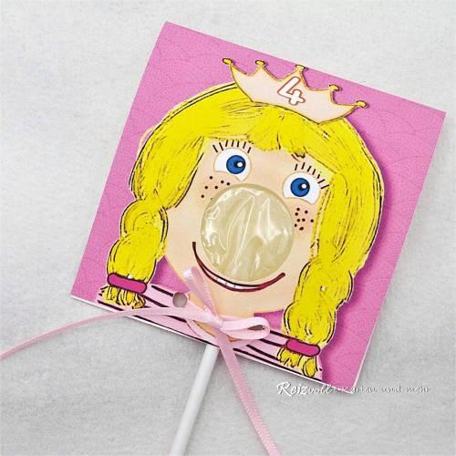 Kindergeburtstag Geburtstag Lolli-Einladung Mädchen / Prinzessin