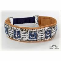Halsband ANKER mit Zugstopp für deinen Hund, rot oder blau maritim Hundehalsband, Martingale Bild 1