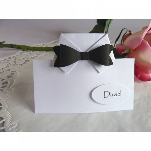 Tischkarte/Platzkarte, zur Hochzeit mit Fliege, für den männlichen Gast