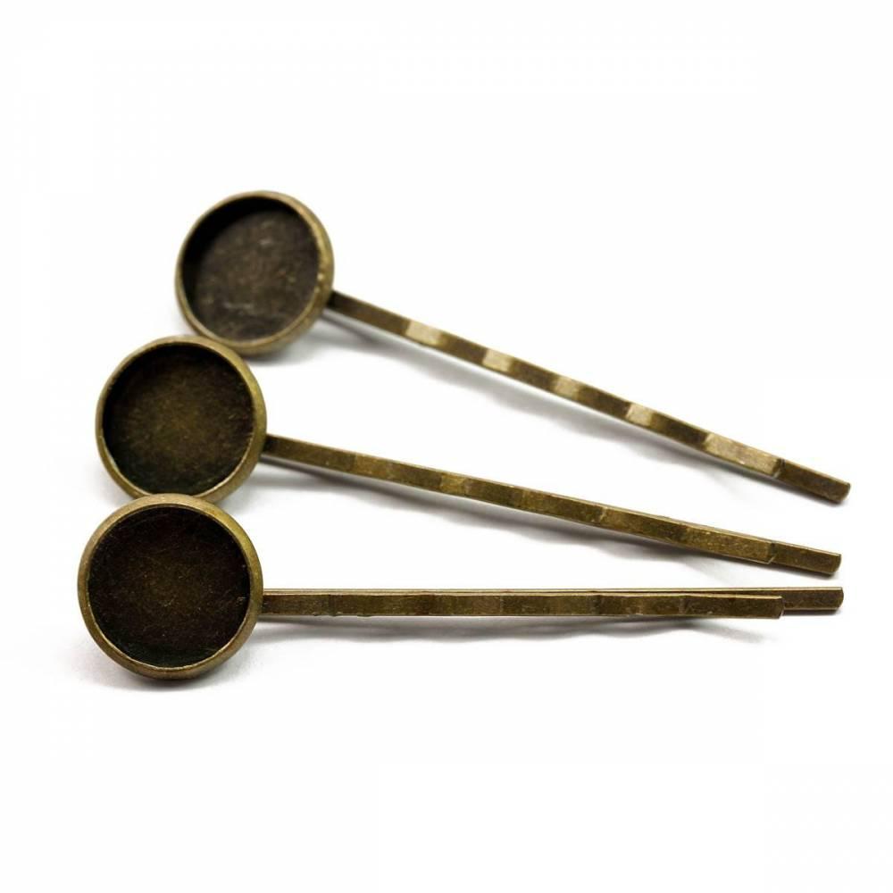 Haarspangen für 12mm-Cabochons bronze Bild 1