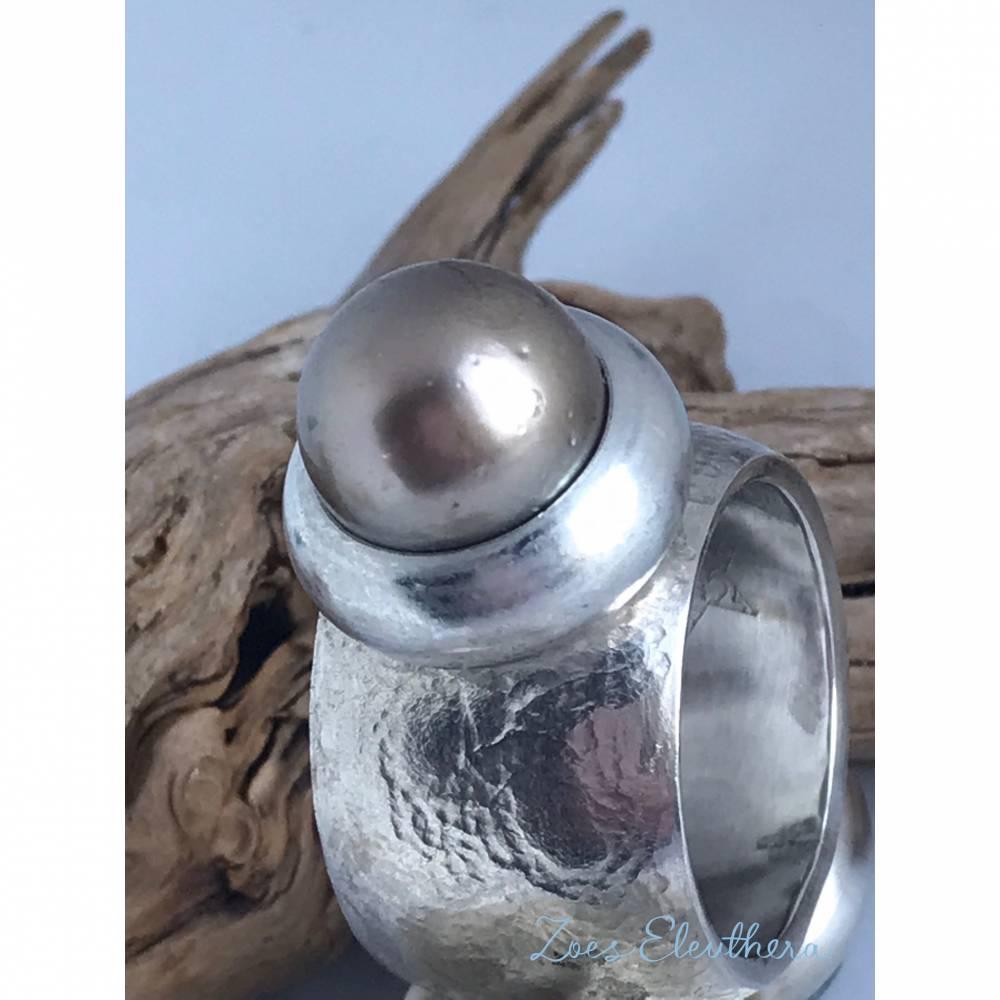 Ring Silber konvex Tahiti Perle Bild 1