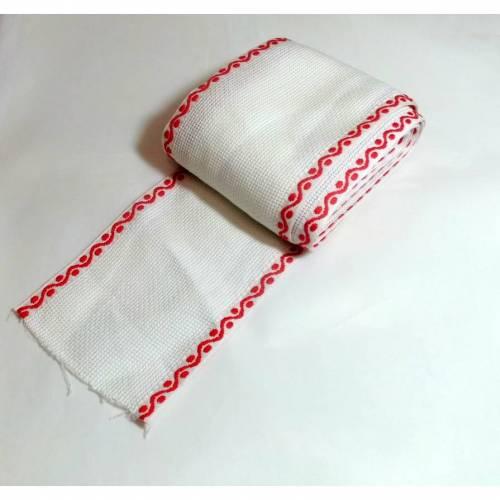 Stickband Band weiß rot 1 Meter lang, 9 cm breit  Kreuzstich besticken