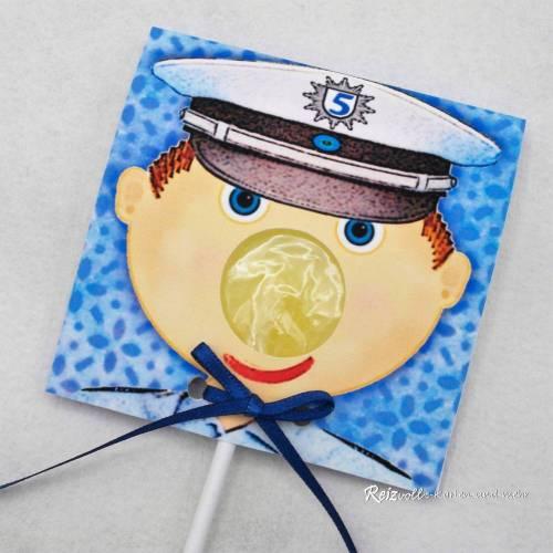 Kindergeburtstag Geburtstag Lolli-Einladung Polizist