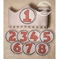 Geburtstagskrone Weiß, incl. 4 Zahlen, Verzierung mit Webband, Kindergeburtstag, Krone, Kopfumfang 40-52cm / 50-58cm Bild 1