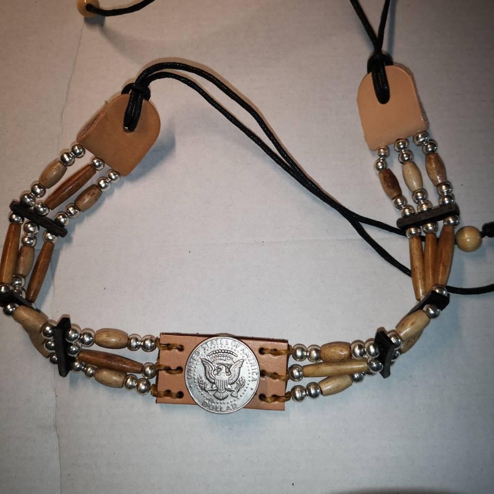 Hutband indianisch,Bonepipes Dollar - Zierkoncha (HB 12) Bild 1