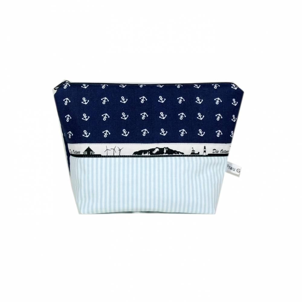 Kosmetiktasche blau Anker maritim weiß gestreift Meer Streifen handmade Bild 1