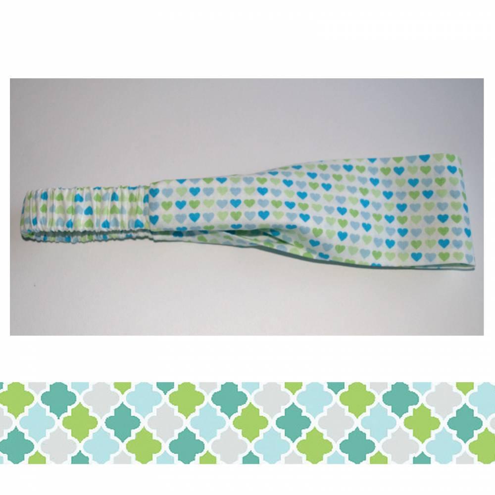 Haarband in den Farben weiss hellblau türkis hellgrün Bild 1