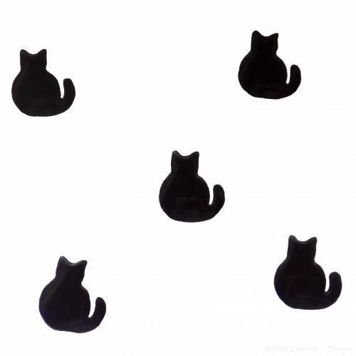 Kinderknöpfe Katzen als Kunststoffknöpfe in schwarz 20 mm