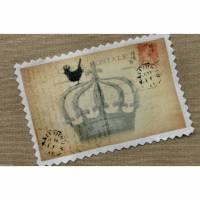 1 Paris Krone Carte Postale Applikation Stoffbild Vintage Nostalgie Aufnäher Bild 1