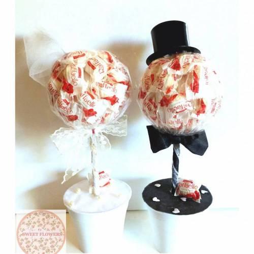Raffaello Pralinen Hochzeitsbäume im Set Braut und Bräutigam Größe 1 Geschenk