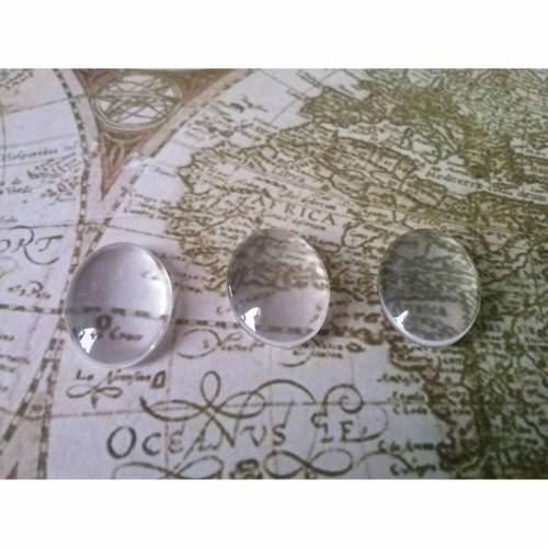 10 klare ovale Glascabochons ~18x13mm~