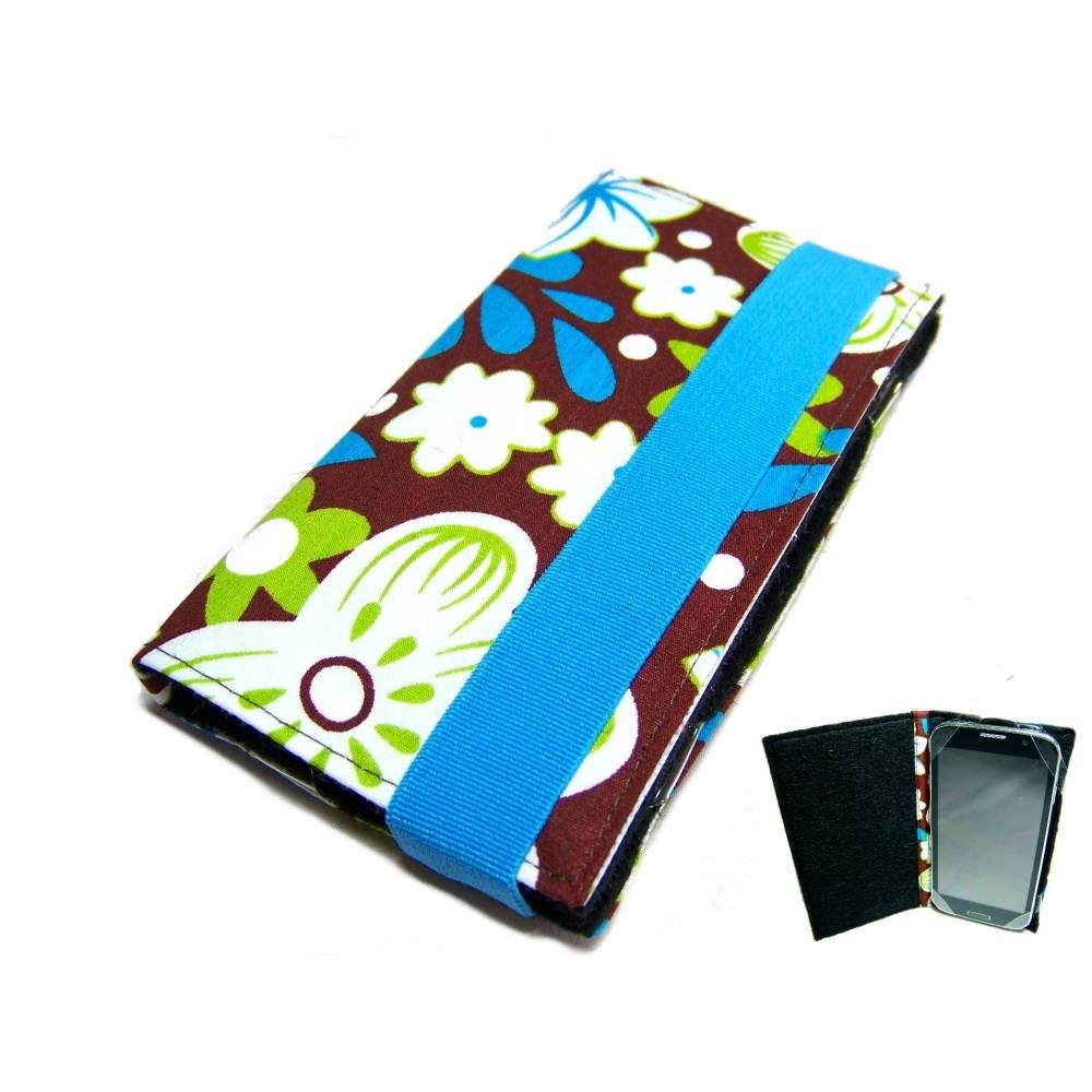 """aufklappbare Handyhülle FlowerArt braun blau grün weiß Smartphonehülle Handytasche Flip Case, Maßanfertigung bis 6,9"""" Bild 1"""