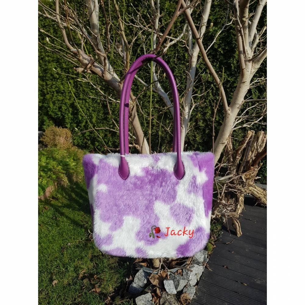 Felltasche mit lila Flecken Bild 1