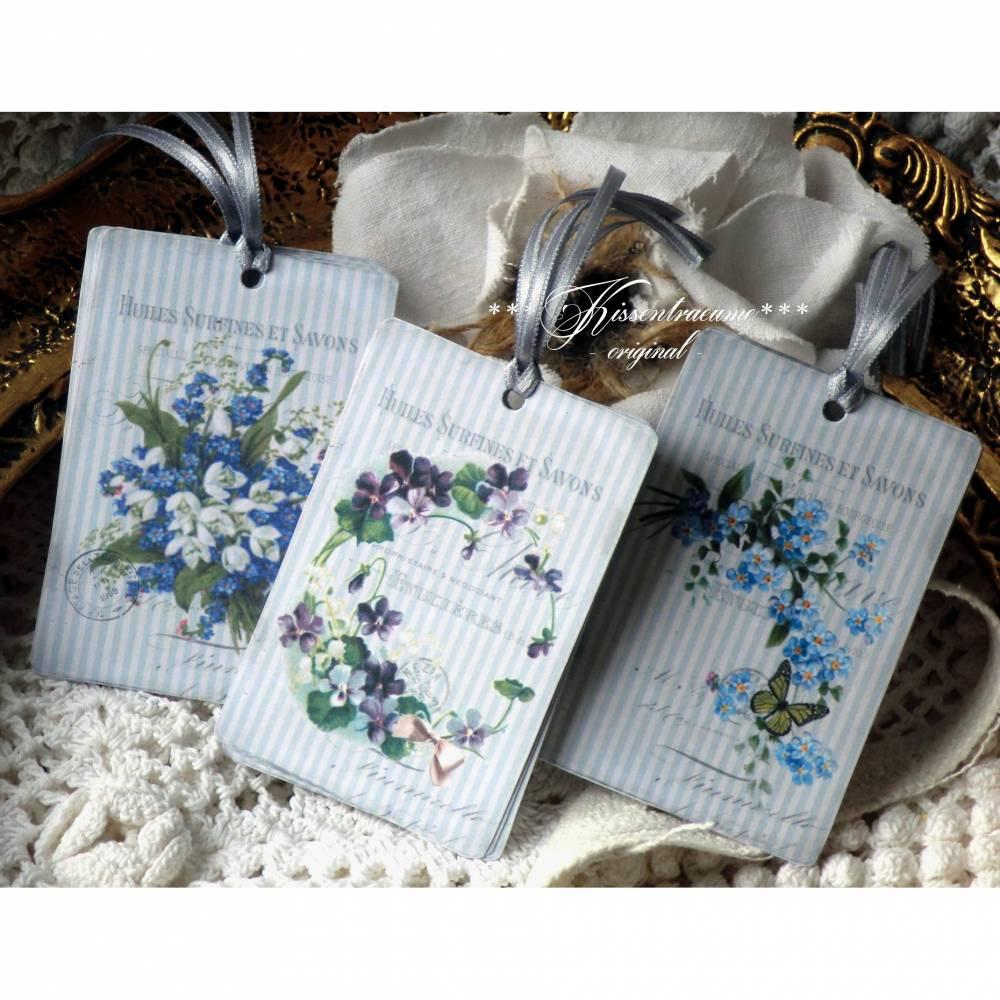 9-er Set Geschenkanhänger / Papieranhänger mit tollen Vintage Blumen Motiven in feinen Blautönen Bild 1