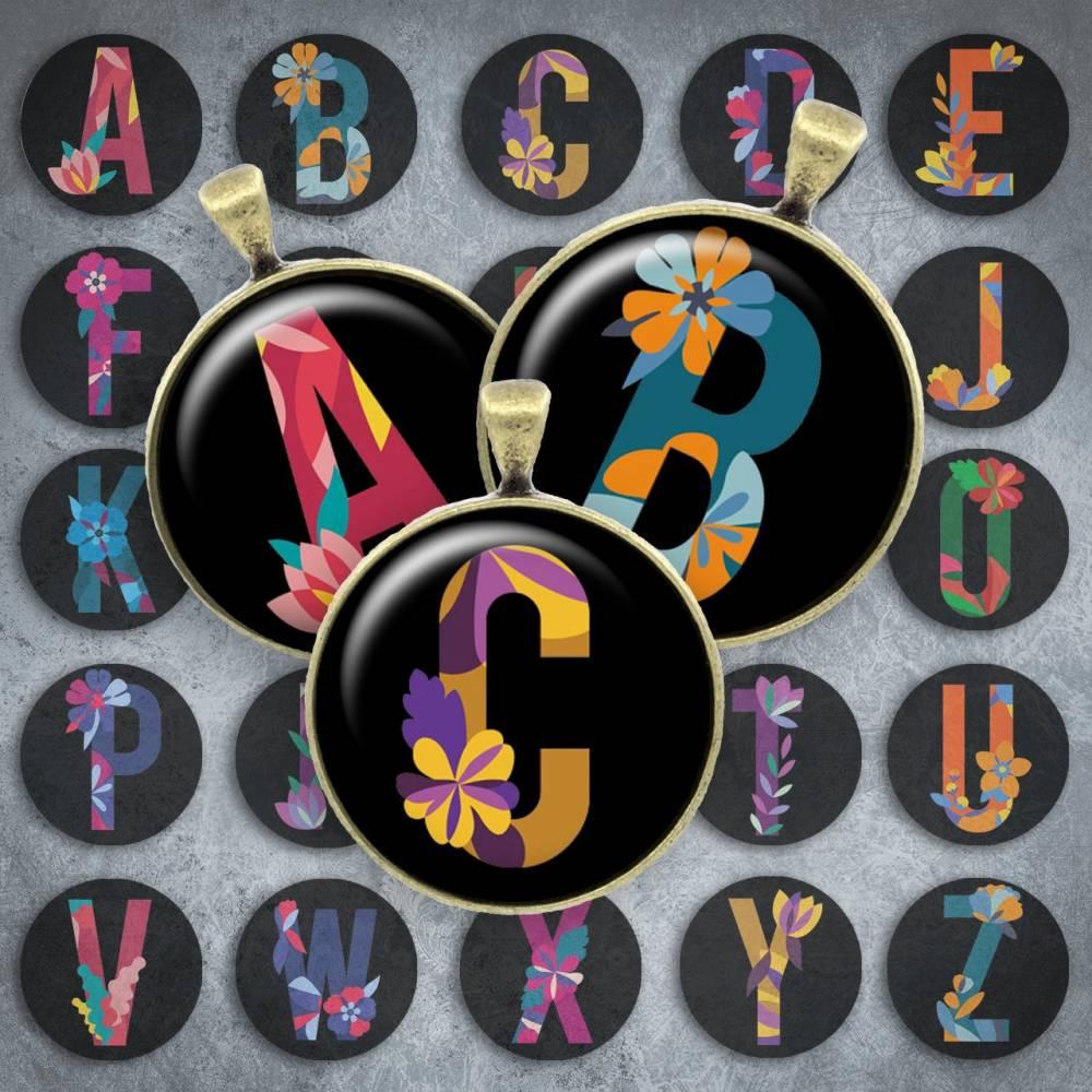 215 - Cabochon Vorlagen, 25mm 18mm 14mm 12mm, rund, Cabochon Motive, Bottle Cap images Buchstaben Alphabet ABC Initialien Bild 1