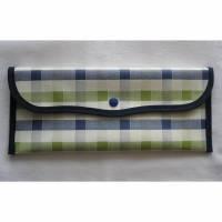 Bestecktaschen aus Wachstuch Karo Blau-Grün Bild 1