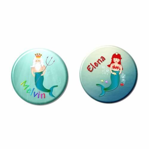 Button Meerjungfrau, Wassermann, personalisiert, Wunschtext, Wunschnamen, Kindergeburtstag Gastgeschenk Mitgebsel