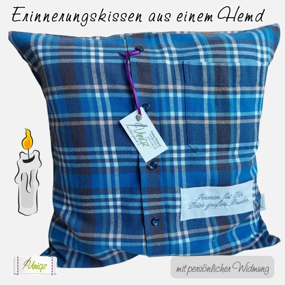 ✂ Erinnerungs- Kissen aus Hemd oder Bluse, Erinnerungskissen Bild 1