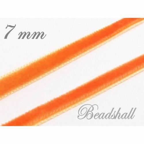 1 Meter edles Samtband 7 mm breit Orange