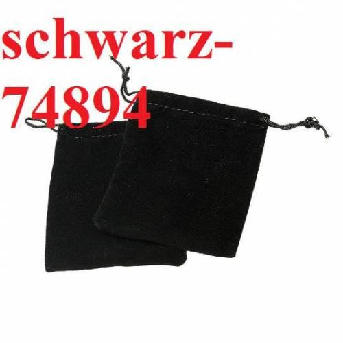 10 Schmuckbeutel,  11.5cm x 10cm, Samtoptik, Velvet, schwarz, Schmuckverpackung, Etui, Samtbeutel, 74894