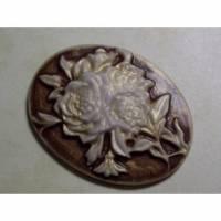 Große Kamee, Gemme, Cabochon, Vintage-Stil, bronze, Blume, 32x42mm, Resin,  1 Bild 1