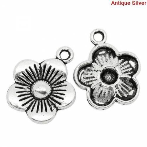 10 Anhänger, Blume, silber, Charm, Charms, Schmuckanhänger,  10355