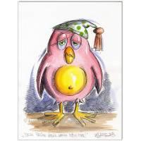 Original Feder und Aquarell : Der frühe Vogel kann mich mal / 24x32 cm  Bild 1