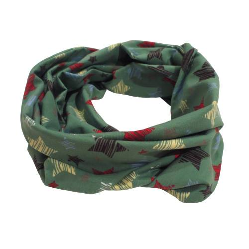 Loop Schlauchschal Schal Damen - grün hellgrün Jersey Sterne Kritzelsterne