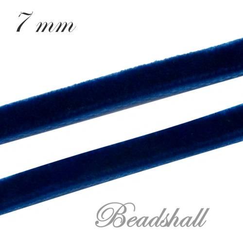 1 Meter edles Samtband 7 mm breit Dunkelblau