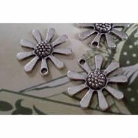 5 große Anhänger, Blume, Blumen, Vintage-Stil, silber, Charm, Charms, Schmuckanhänger, 14 Bild 1