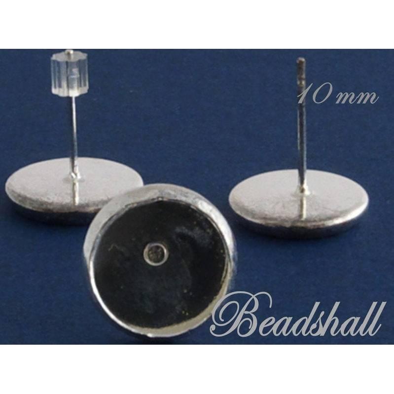 6 Ohrstecker Versilbert mit Fassung für Cabochons mit Ohrstopper aus Silikon Bild 1