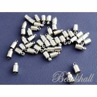 10 Endkappen schlicht für Bänder silberfarben zierliche Bandendkappen Bild 1