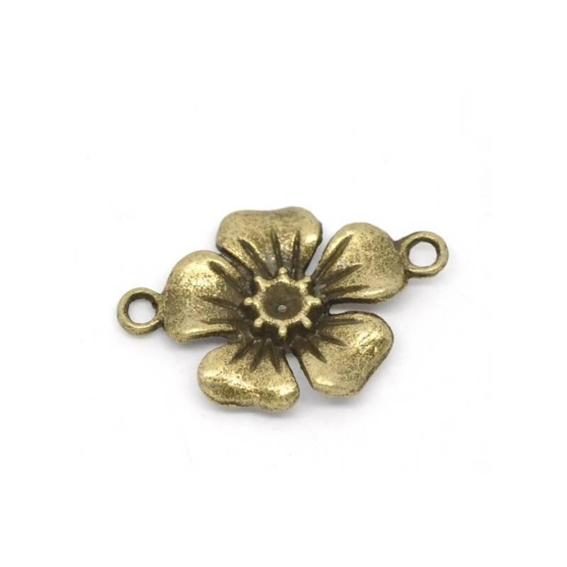 10 oder 30 Anhänger, Verbinder,Blume, Blumen,Charm, bronze, 14457 Bild 1