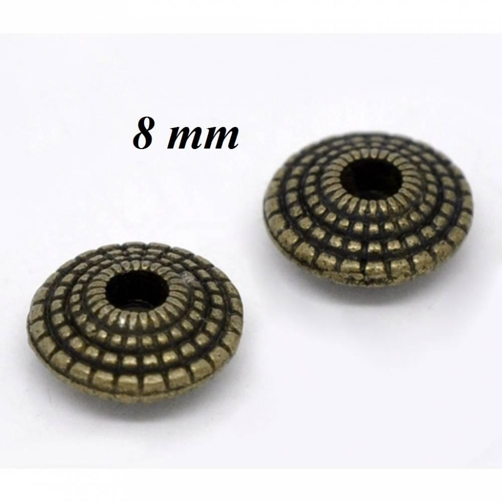 70 Metallperlen, Perlen, bronze, bronzefaben, Diskusperlen, 8mm, 12802 Bild 1