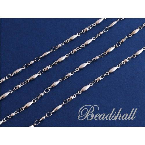 Kette Edelstahl 304 silberfarben Design Edelstahlkette runde Perlen Zwischenstücke