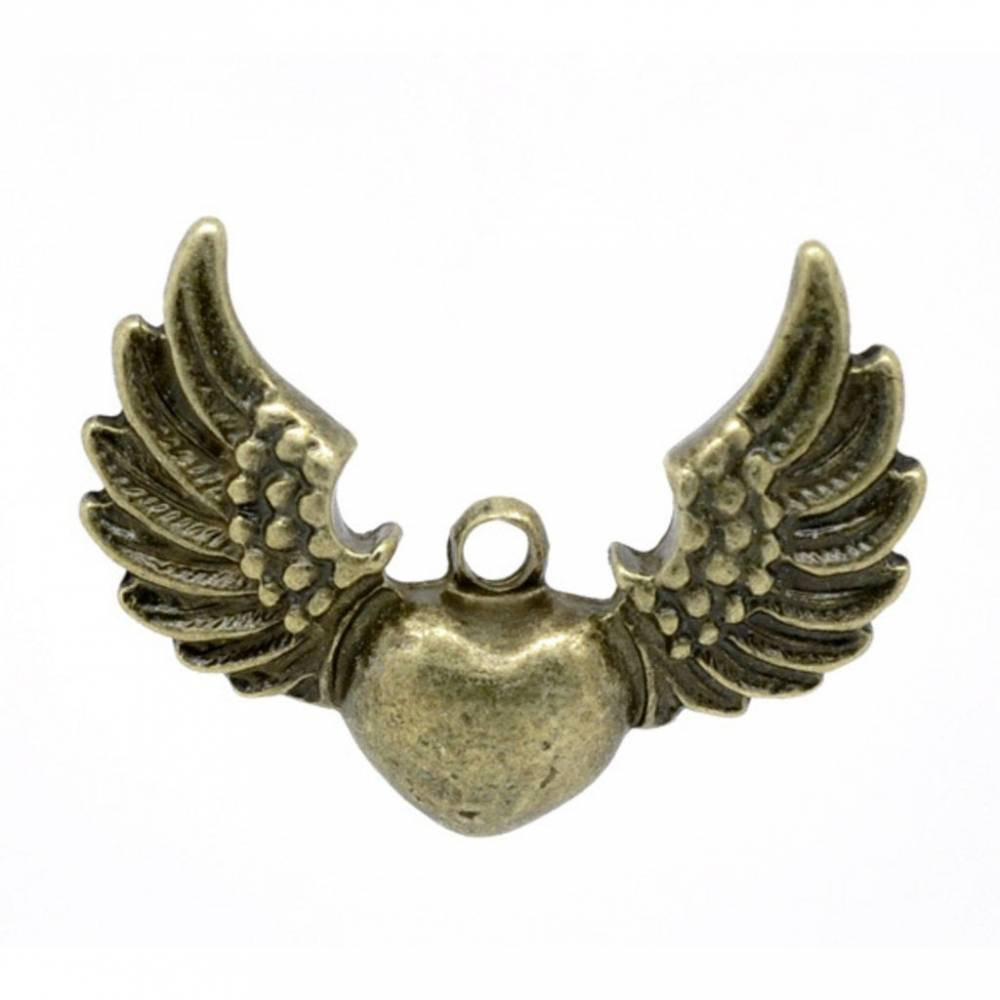20  ANHÄNGER, Herz, Herzen, fliegendes Herz, bronze,Vintage-Stil, charm, charms, 13155 Bild 1