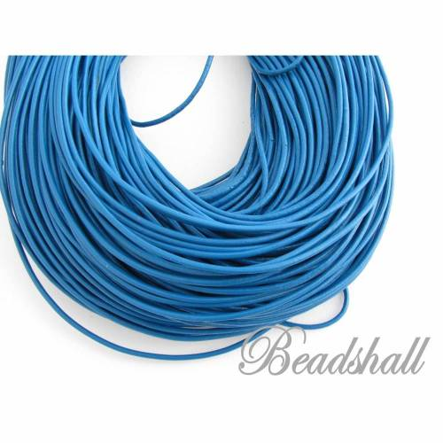 2 Meter Lederband rund 2 mm Blau