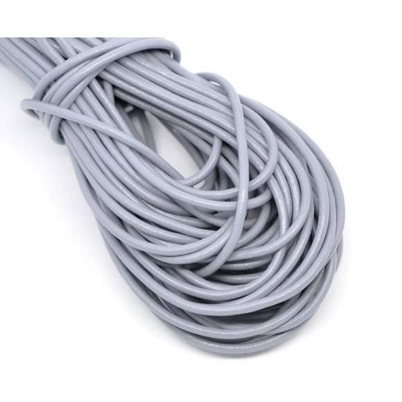 3 Meter Lederband, 2mm,  grau, Rindsleder, 08226 Bild 1
