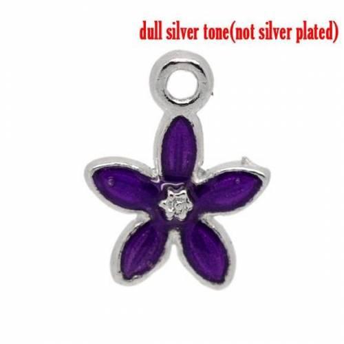 5 Anhänger, Blume, Charm, Charms, emailliert, silber, lila, Schmuckanhänger, 00795