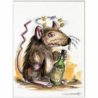 Original Feder und Aquarell : Whiskey Maus II / 24x32 cm  Bild 1