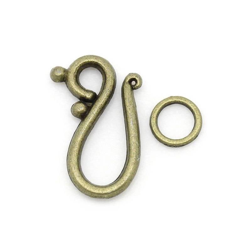 2 Hakenverschlüsse,Hakenverschluss, Schmuckverschluss, Verschluss, Kette, Armband,Vintage-Stil, bronze, 27394 Bild 1