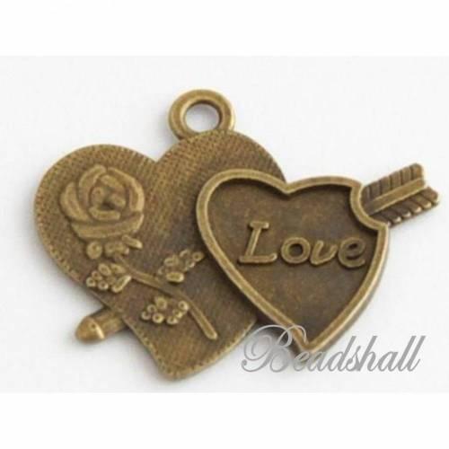 8 Anhänger Zwei Herzen bronzefarben Schmuckanhänger Liebe