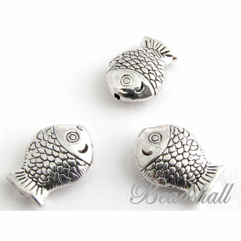 10 Metallperlen Fisch silberfarben Bild 1